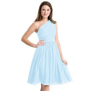 Azazie One Shoulder Sky Blue Bridesmaid Dress Sz 2
